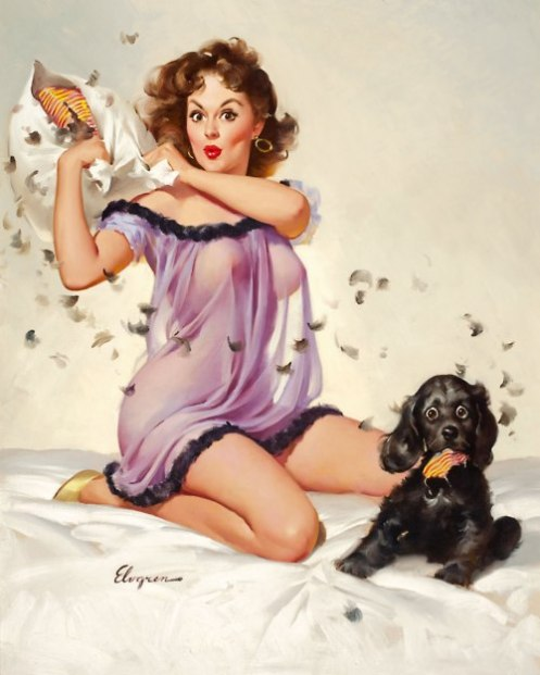I'm at a complete loss for a clever caption here...(Pin-up art by Gil Elvgren)