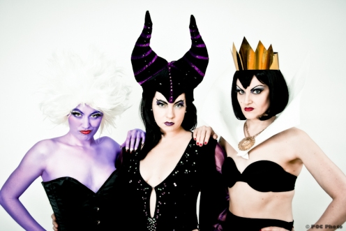 A trio of villainesses: Randi Rascal as Ursula, Bella Bijoux as Maleficent, and Lady Drew Blood as the Evil Queen (POC Photo)