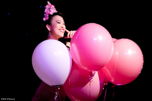 Burlesque Royale's Producer, The Shanghai Pearl, in her Cherry Blossom act (POC Photo)