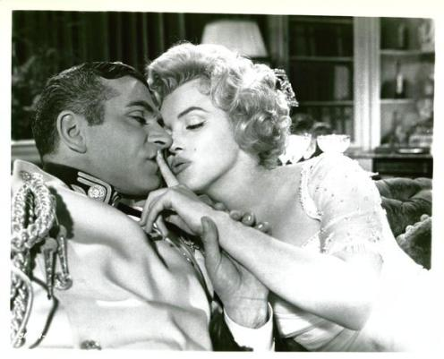 "Marilyn and Laurence Olivier in the 1957 film ""The Prince and the Showgirl"""
