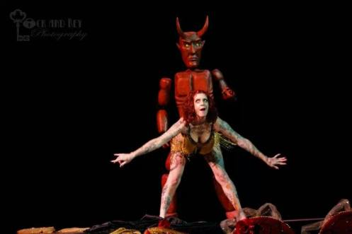 "Bettie Beelzebub gets it from behind- Devil marionette operated by performance partner ""West Coast Oliver Clothesoff"" (Photo courtesy of Israel Caine of Lock and Key Photography)"