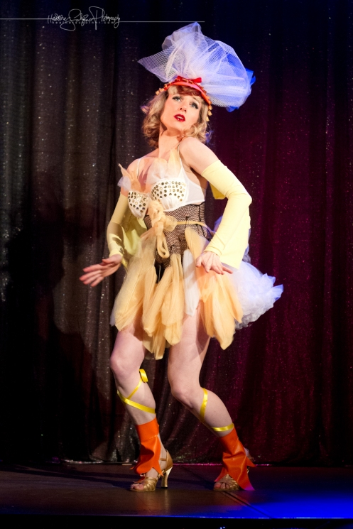 Guest performer Crystal Tassels and her chicken dance (Photo by Heather Schofner)