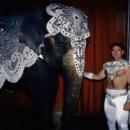 Carol the Elephant and trainer George Hanneford  (Hanneford Circus,  Florida) costumed by Bic